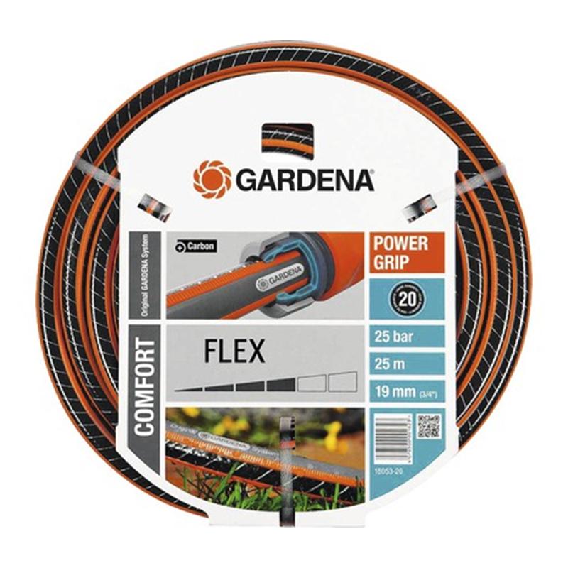 Furtun universal Gardena Comfort Flex, 25 m, 3/4 inch, 12 bar, PVC, Negru/Portocaliu shopu.ro
