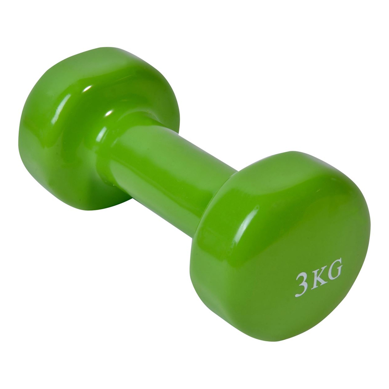 Gantera vinil pentru fitness Liveup, 3 kg, lungime 17.5 cm, Verde
