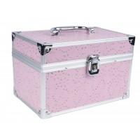 Geanta pentru cosmetica 2116, roz, cristale, oglinda inclusa