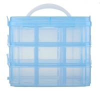 Geanta din plastic pentru depozitare, 3 etaje, albastru