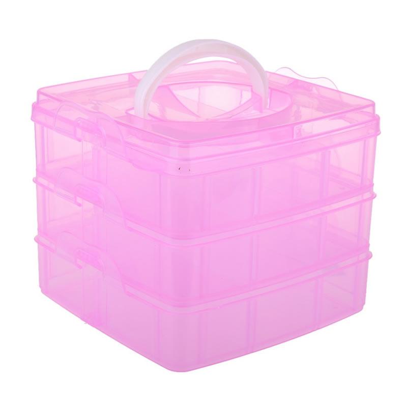 Geanta din plastic pentru depozitare, 3 etaje, roz