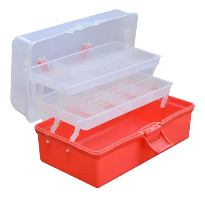 Geanta manichiuriste din plastic, sertare pliabile