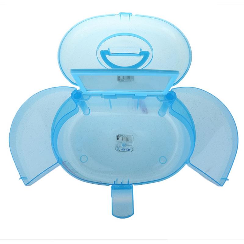 Geanta cosmetice din plastic P128, oglinda, albastru