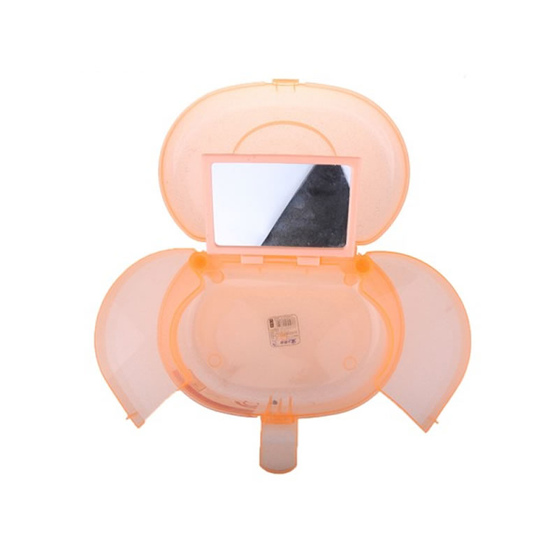 Geanta cosmetice din plastic P128, oglinda, portocaliu