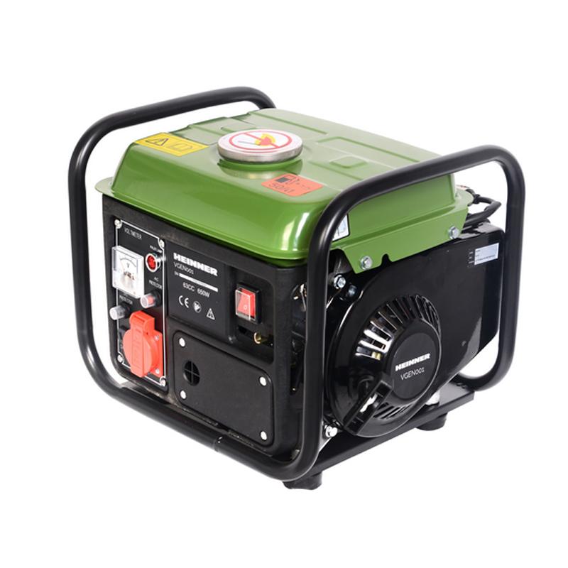 Generator Heinner, 650 W, 63 CC, 230 V, 4 L, 2 timpi, 94 dB, cadru metalic, portabil, Verde shopu.ro