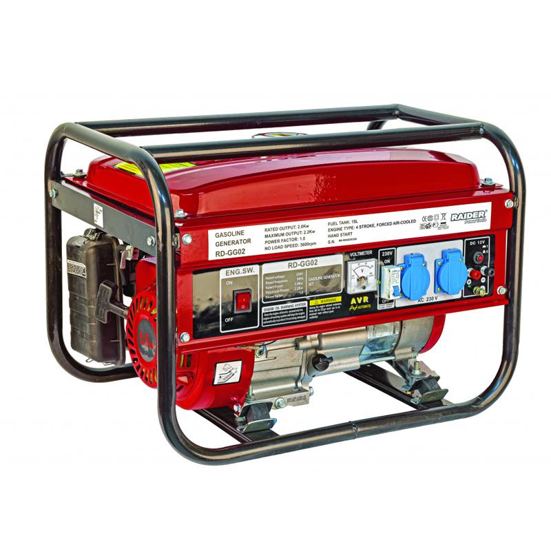 Generator benzina Raider, 2000 W, 14 l, motor 4 timpi, 3600 rpm, pornire manuala shopu.ro