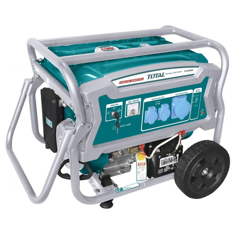 Generator benzina Total, 6500 W, 3000 rpm, 25 l, 4 timpi, sistem racire 2021 shopu.ro