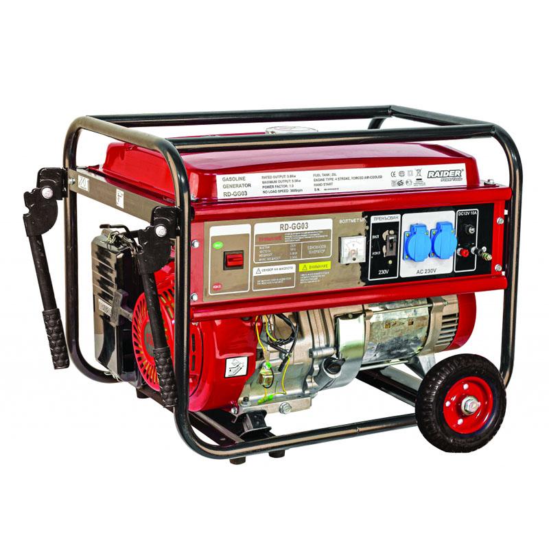 Generator pe benzina Raider RD-GG03, 5 kW, 389 CC, 6.7 CP, rezervor 25 l, voltmetru 2021 shopu.ro