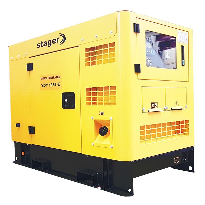 Generator insonorizat Stager, 16 kVA, 23 A, 1500 rpm, 100 l, diesel, trifazat, conector ATS, display digital 2021 shopu.ro