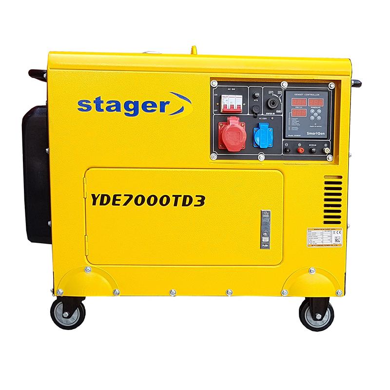 Generator insonorizat Stager, 5.2 kVA, 8 A, 3000 rpm, 14.5 l, diesel, trifazat, display digital 2021 shopu.ro