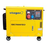 Generator insonorizat Stager, 5.2 kVA, 8 A, 3000 rpm, 14.5 l, diesel, trifazat, display digital