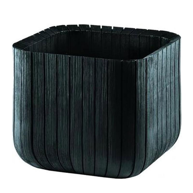 Ghiveci din plastic Curver, pentru exterior, patrat, 29.7 x 29.7 x 29.7 cm, negru 2021 shopu.ro
