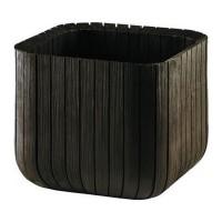 Ghiveci din plastic Curver, pentru exterior, patrat, 29.7 x 29.7 x 29.7 cm, maro
