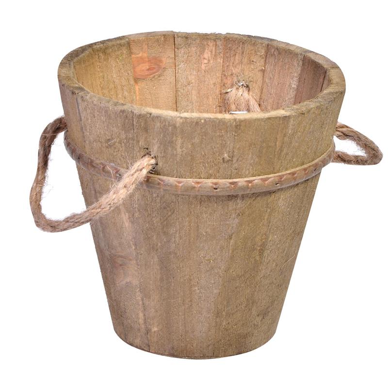 Ghiveci lemn pentru flori, 14 x 14 cm, 2 manere sfoara, model mic 2021 shopu.ro