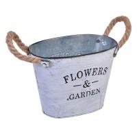 Ghiveci metalic Flowers Garden, 26 x 20 cm, manere sfoara