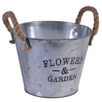 Ghiveci metalic tip galeata Flowers Garden, 22 x 18 cm