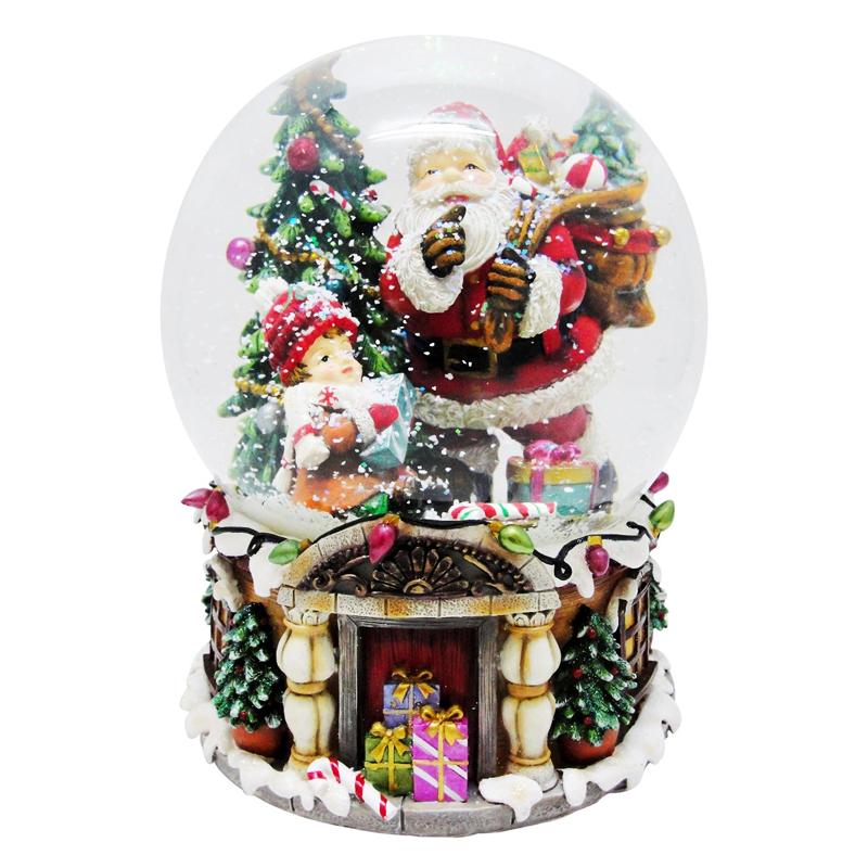Glob de sticla cu zapada artificiala, 20 cm, figurina Mos Craciun 2021 shopu.ro