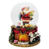Glob de sticla cu zapada artificiala, 14 cm, figurina Mos Craciun