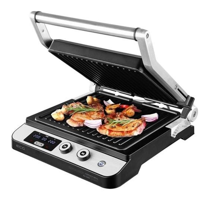 Gratar tip grill ECG Gourmet, 2000 W, 29 x 26 cm, 2 termostate, functie BBQ Booster 2021 shopu.ro