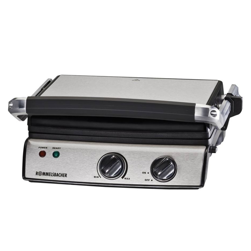 Gratar tip grill Rommelsbacher, 2000 W, termostat, LED, 5 nivele, tava integrata 2021 shopu.ro