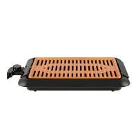 Gratar electric fara fum Hausberg, 1250 W, 25 x 38 cm, suprafata ceramica, termostat reglabil, Negru/Maro