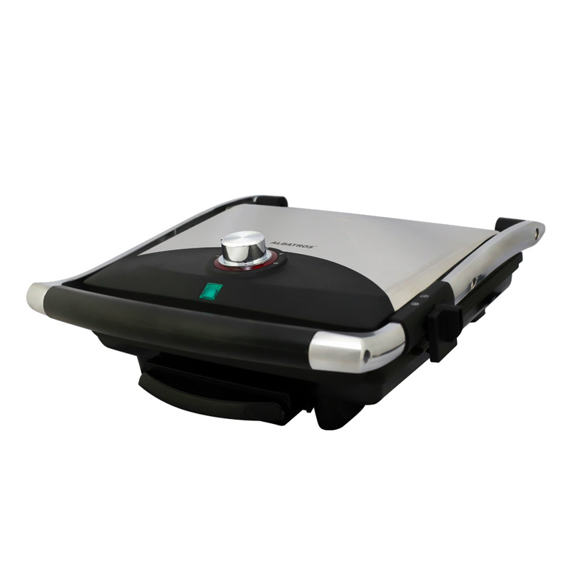 Grill toaster Albatros, 2000 W, control termostat, maner termorezistent, Negru/Argintiu 2021 shopu.ro