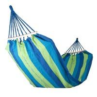 Hamac textil pentru camping, 200 x 75 cm, Albastru/Verde