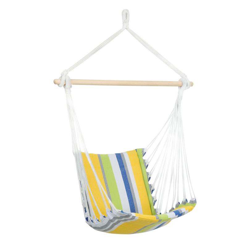 Hamac tip scaun cu bara din lemn, 104 x 56 cm, Multicolor 2021 shopu.ro