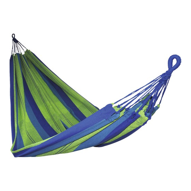 Hamac textil, 200 x 150 x 1 cm, policoton, maxim 100 kg, Albastru/Verde 2021 shopu.ro