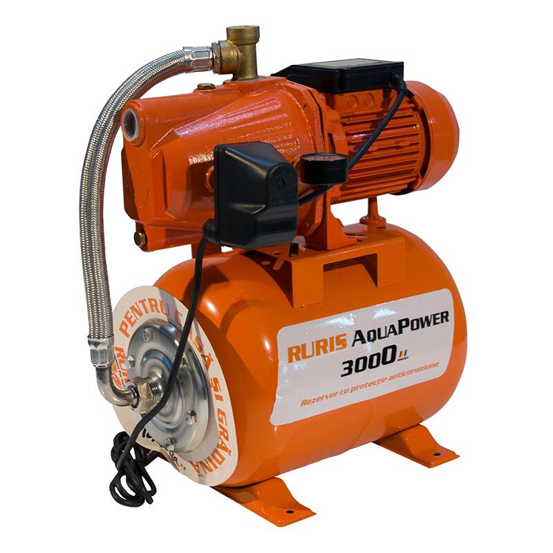 Hidrofor Ruris Aquapower 3000, 1000 W, 24 l, 3300 l/h, 5.2 bar, maxim 50 m, rezervor inclus 2021 shopu.ro