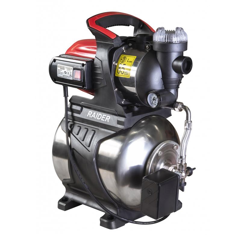 Hidrofor cu rezervor inox RD-WP1200S Raider, 1200 W, 64 l/min, 48 m, 3 bar, iesire 1 inch, manometru incorporat