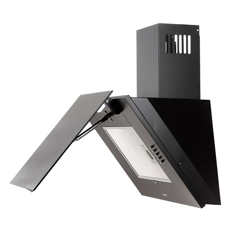 Hota Decorativa Tornado Vertikal 750 (60) LED, 1 motor Turbo, latime 60 cm, 3 viteze, absorbtie 750 m3/ora, filtru anti-grasimi aluminiu 5 straturi, Negru/Inox
