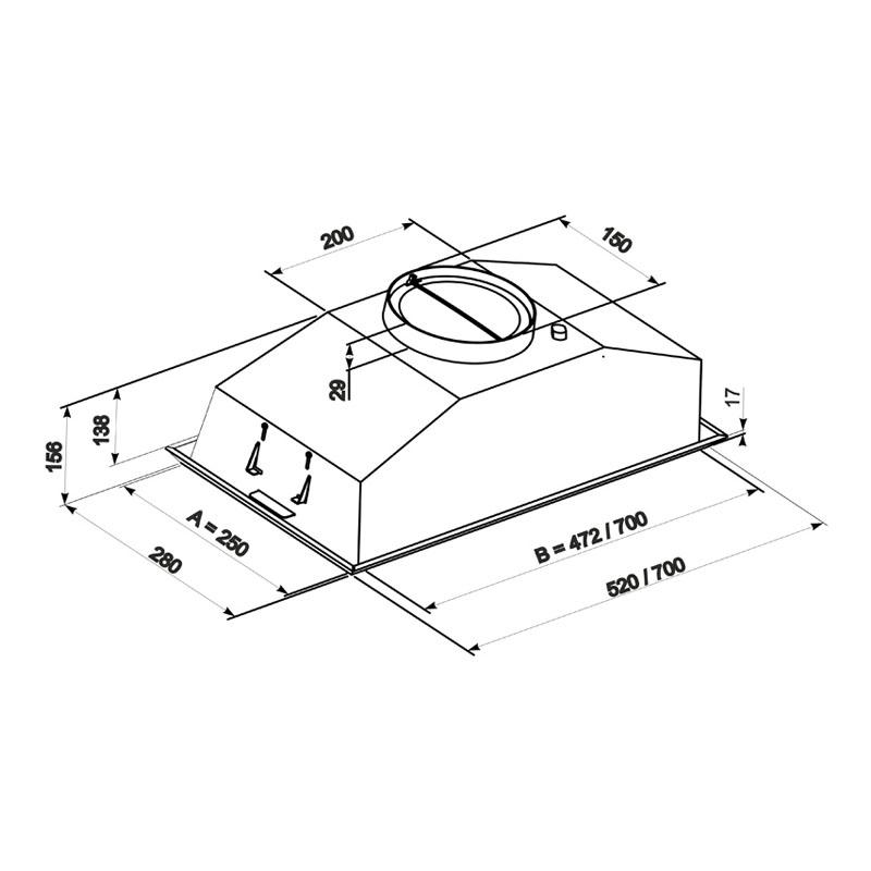 Hota Incorporabila Tornado Modul 700 (52) LED, 1 motor Turbo, latime 52 cm, absorbtie 700 m3/ora, filtru anti-grasimi aluminiu 5 straturi, Inox