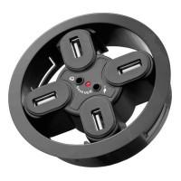 Hub USB 2.0 Goobay, 4 porturi + iesiri audio, montabil in birou