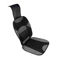 Husa scaun auto cu tetiera si suport lombar IN1845, 123 x 46 cm, Negru/Gri