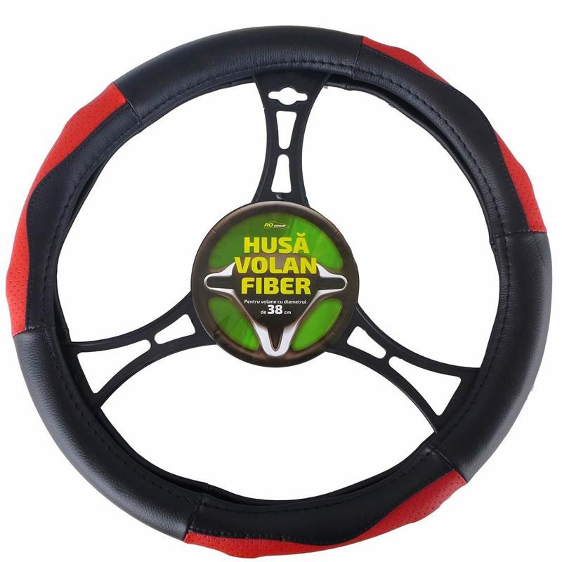 Husa volan RoGroup piele ecologica Fiber, Negru/Rosu 2021 shopu.ro