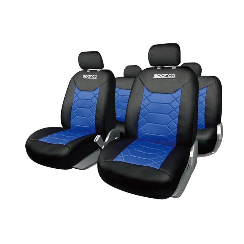 Huse Scaune Auto Sparco Sport, 11 piese, Albastru/Negru 2021 shopu.ro