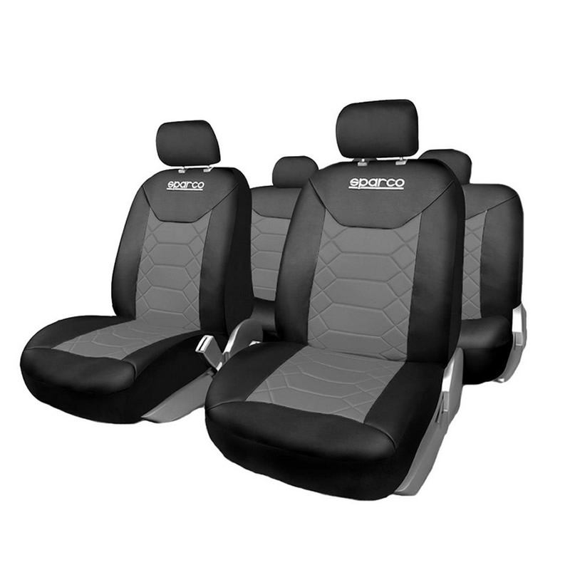 Huse Scaune Auto Sparco Sport, 11 piese, Gri/Negru 2021 shopu.ro