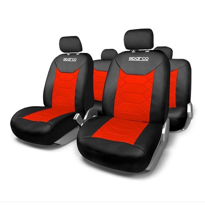 Huse Scaune Auto Sparco Sport, 11 piese, Rosu/Negru 2021 shopu.ro