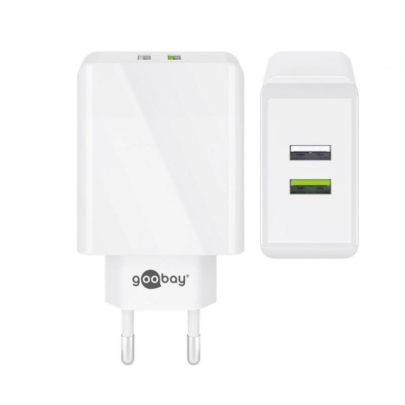 Incarcator de retea Goobay Dual-USB/QC3.0, 28 W, Alb 2021 shopu.ro