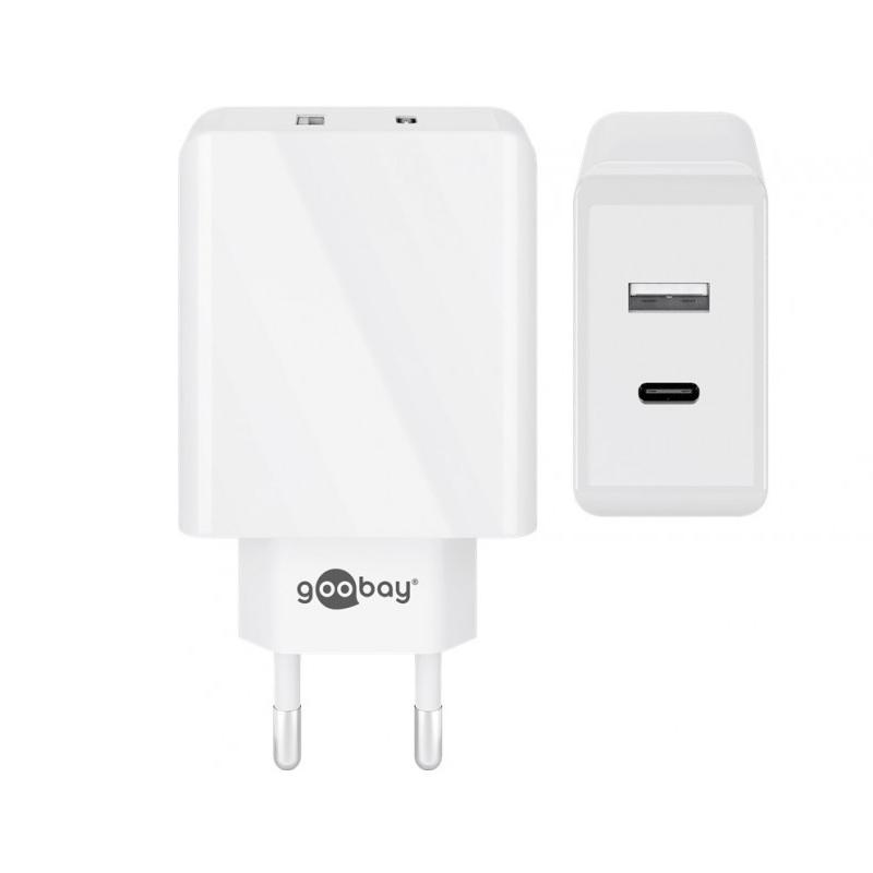 Incarcator de retea Goobay Dual-USB/USB-C, 28 W, incarcare rapida, Alb 2021 shopu.ro