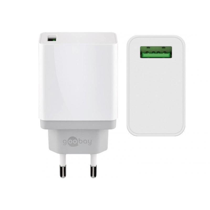 Incarcator de retea Goobay USB QC 3.0, 18 W, Alb 2021 shopu.ro