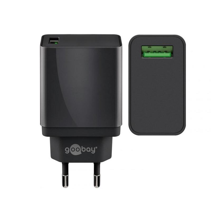 Incarcator de retea Goobay USB QC 3.0, 18 W, Negru 2021 shopu.ro