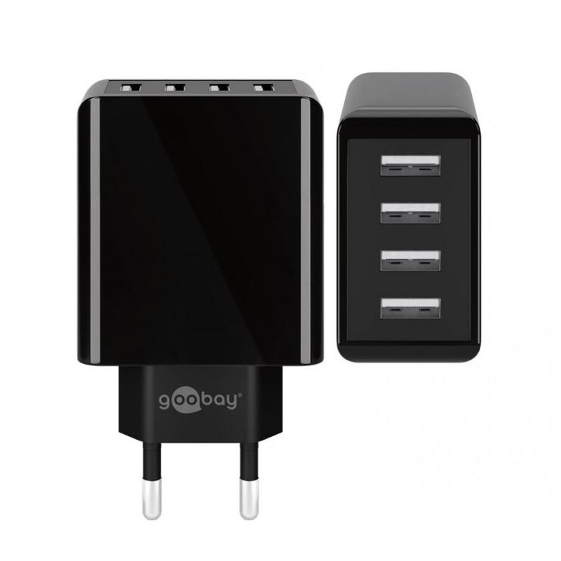 Incarcator de retea Goobay, 4 x USB, 30 W, design slim, Negru 2021 shopu.ro