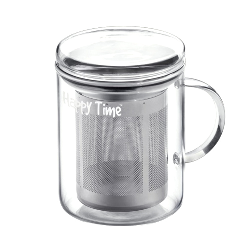 Infuzor sticla pentru ceai Laica Happy Time, 350 ml, sita inox 2021 shopu.ro