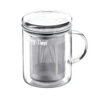 Infuzor sticla pentru ceai Laica Happy Time, 350 ml, sita inox