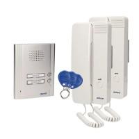 Interfon pentru 2 familii Orno, 110 x 140 x 35 mm, 4 fire, card, montaj aplicat, IP20, carcasa aluminiu