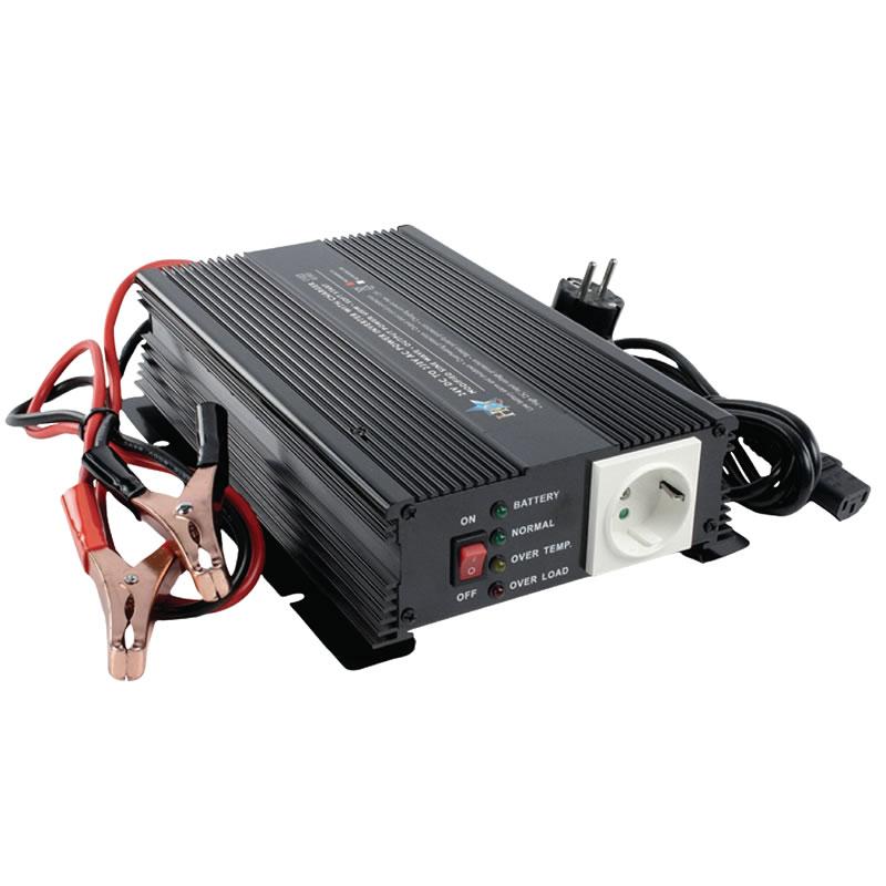 Invertor de tensiune HQ, 24V-230V, 600 W, incarcator baterie incorporat