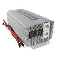 Invertor de tensiune HQ, 24V - 230V, 2500 W, 2 x Schuko