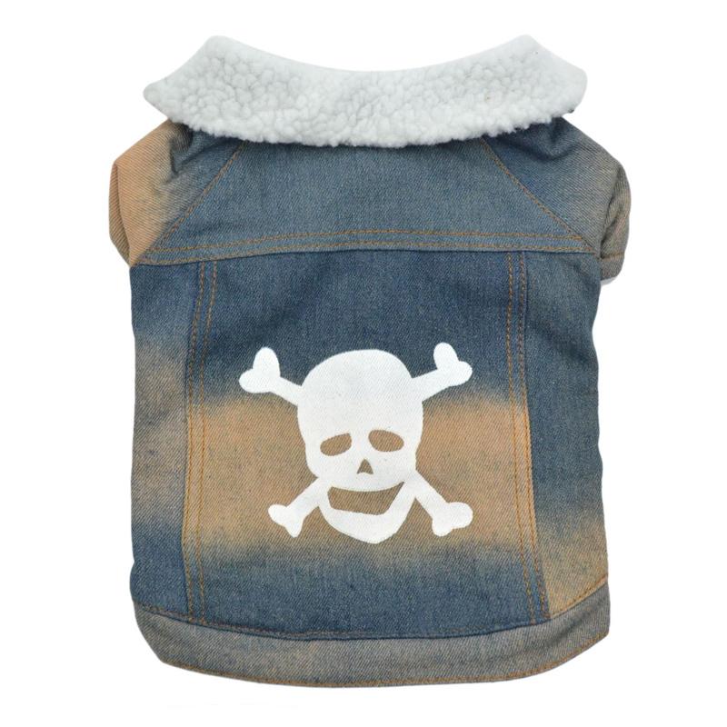 Jacheta groasa pentru catei Skull, marimea L, blana interioara 2021 shopu.ro